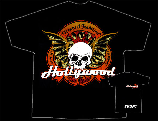 Hollywood Hot Rods Wicked Wigned Skull T-Shirt