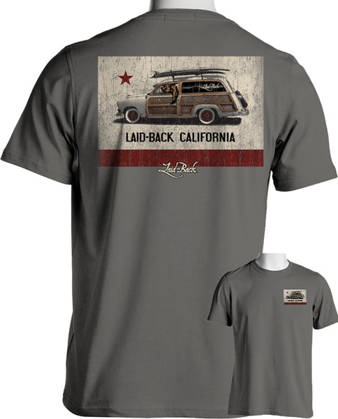 Laid-Back Cali Flag Woodie Gray T-Shirt