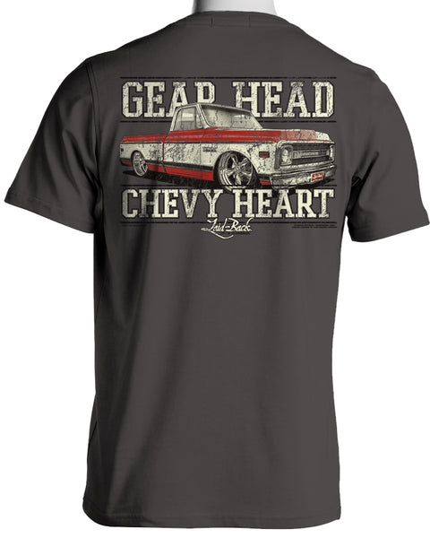 Laid-Back Gear Head 1970 Chevy Truck Gray T Shirt Back