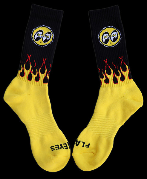Mooneyes Flaming Cres Socks Black and Yellow