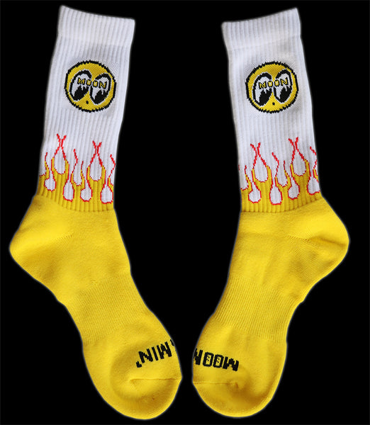 Moon Eyes Crew Flaming Socks White