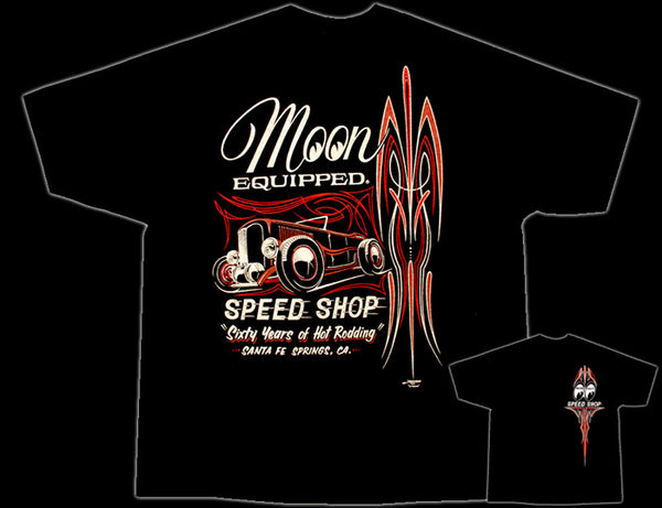 Moon Equipped Pinstripe Roadster Black T-Shirt