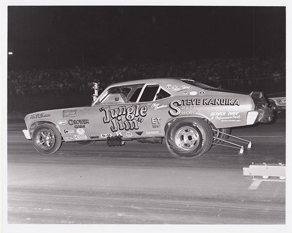 Jungle Jim Liberman 1969 Nova Funny Car 8x10 B&W Photo