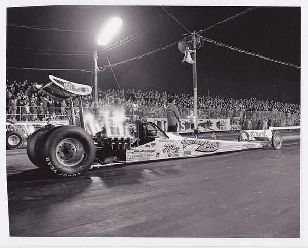 Dennis Baca Top Fuel Dragster Black and White 8x10 Photo Lions Last Drag Race