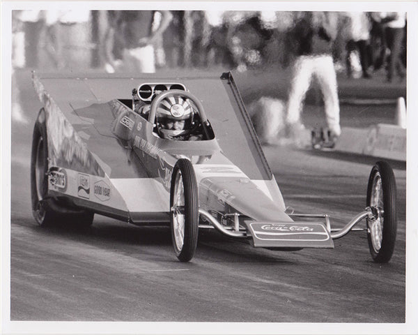 "Vintage Don ""The Snake"" Prudhomme Wedge Dragster 8x10 black and white photo"