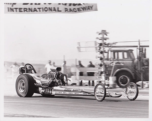 Vintage Beebe & Mulligan Top Fuel Dragster 8x10 Black and White Photo