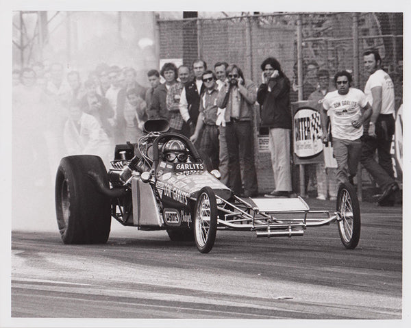 Vintage Don Garlits Rear-Engine Dragster Black and White 8x10 Photo