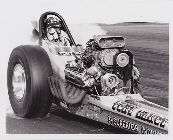 Vintage Tony Nancy Top Fuel Dragster Burnout 8x10 Black and White Photo