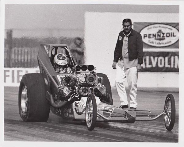 Vintage Tom Mongoo$e Mcewen Hot Wheels Dragster 8x10 Black and White Photo