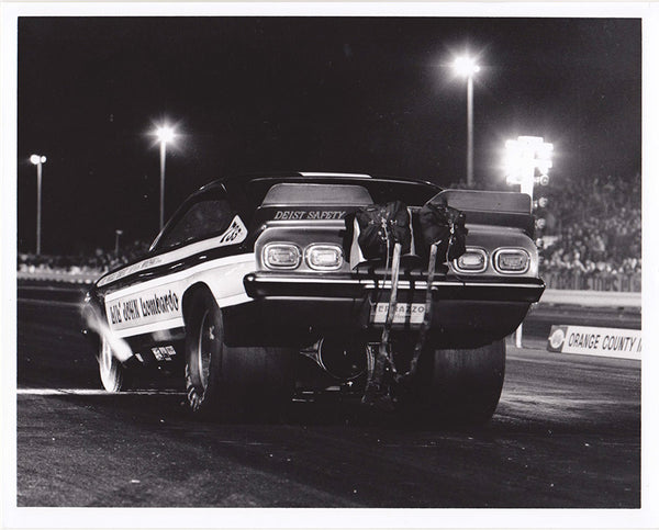 Vintage Lil' John Lombardo Vega Funny Car Black and White 8x10 Photo