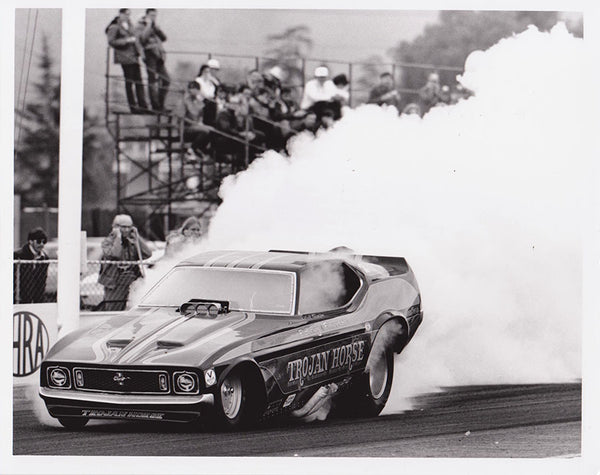 Vintage Trojan Horse Mustang Funny Car Burnout 8x10 Black & White Photo