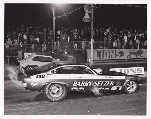 Barry Setzer Vega Funny Car Lions 8x10 Black and White Photo