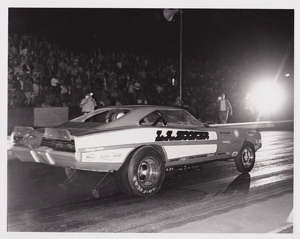 Vintage L.A. Hooker Dodge Charger Funny Car 8x10 Black and White Photo