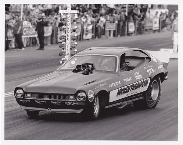 Vintage Dale Pulde in the Mickey Thompson Pinto Funny Car 8x10 Black and White Photo