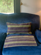 Load image into Gallery viewer, Navy and lime green pillow