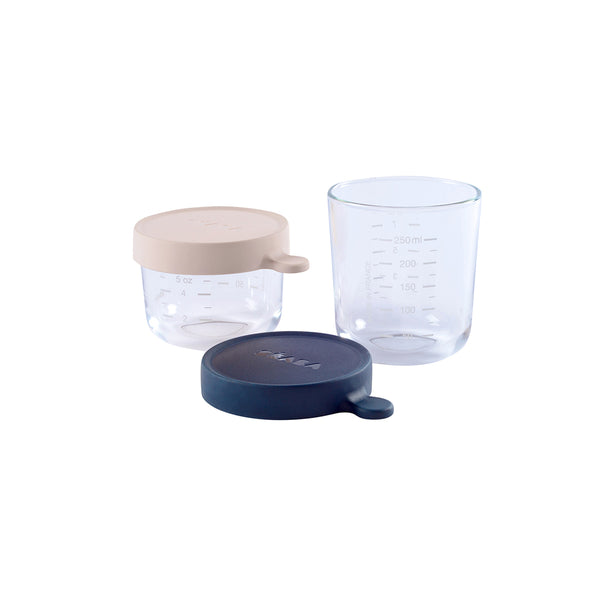 BEABA Glass Conservation Jar Set - Pink & Dark Blue