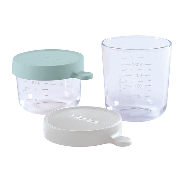 Glass Conservation Jar Set  - Green & Grey