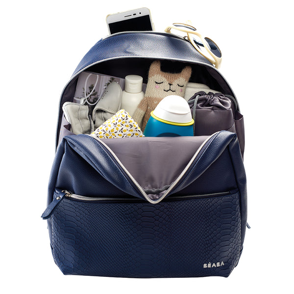 Beaba San Francisco Nappy Backpack - Blue with Snake Print (1)