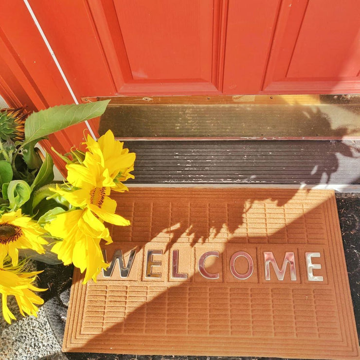 Welcome Steel Insert Synthetic Doormat - Light Brown