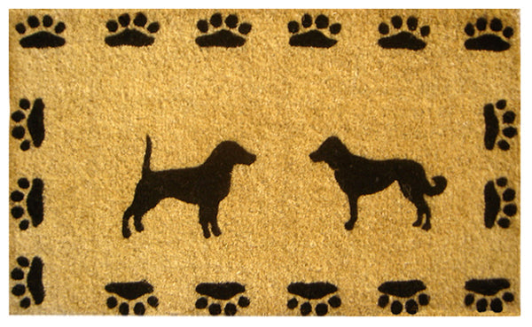 Dog With Paws Handwoven Coco Doormat