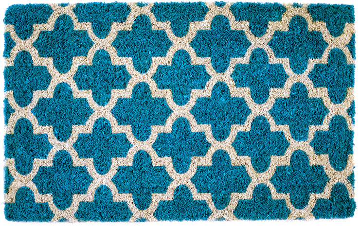 A teal doormat with a crosscross white Moroccon style print.