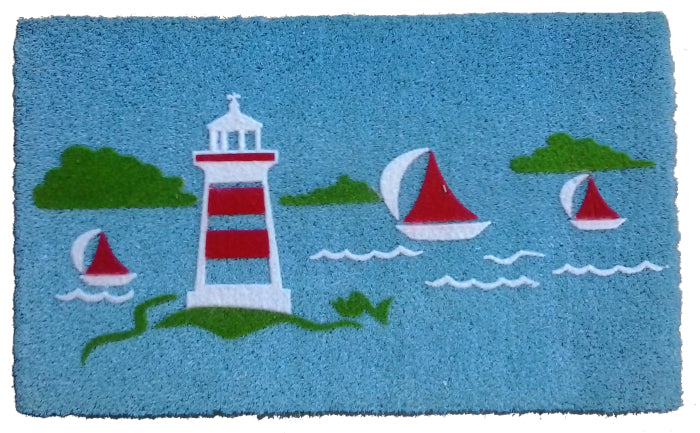 Yatch Light House Flocked Vinyl Coir Doormat