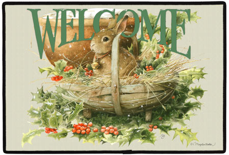 Christmas Bunny Polyester Doormat