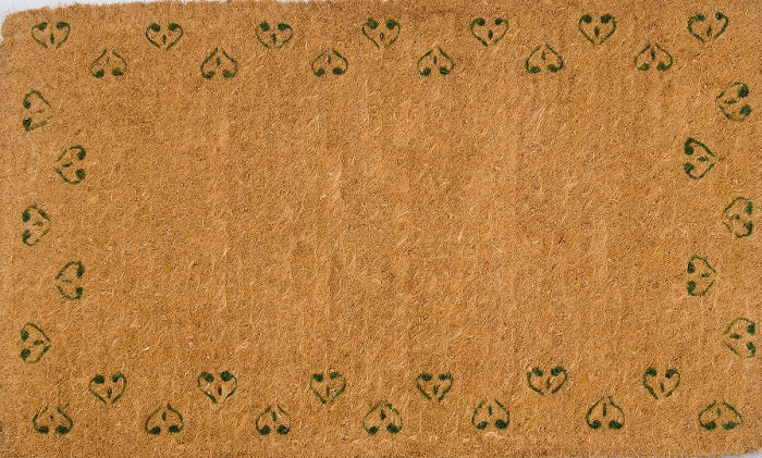 Sprinkled Hearts Handwoven Green Coco Doormat
