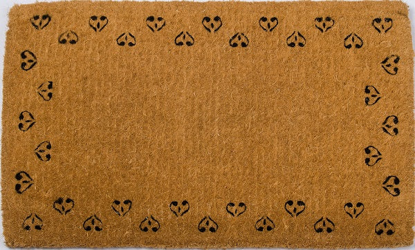 Sprinkled Hearts Black Handwoven Coco Doormat
