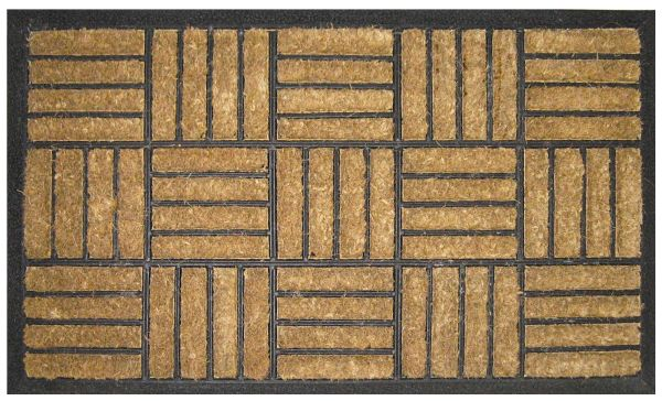 Criss Cross Recycled Rubber Coir Doormat