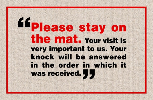 FUNNY 'PLEASE STAY ON MAT' DOORMAT