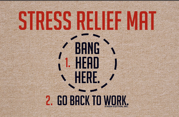 FUNNY 'STRESS RELIEF-BANG HEAD HERE' DOORMAT