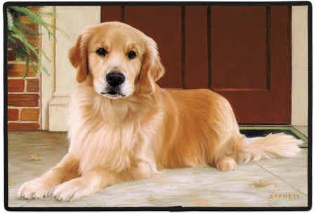 Golden Retriever on Porch Polyester Doormat