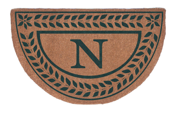 Half Round Leafy Vines Border Personalized Doormats