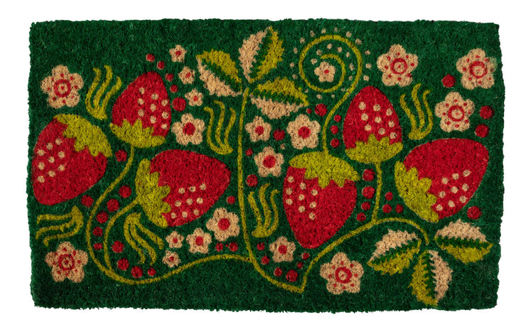 Strawberries Handwoven Coco Doormat
