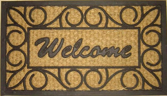 Welcome Wrought Grill Molded Rubber Coir Doormat