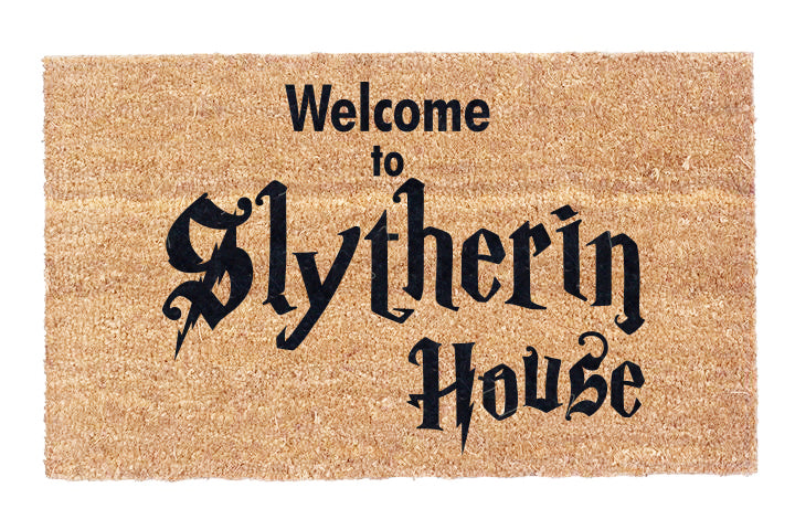 Welcome to Slytherin House Coco Doormat