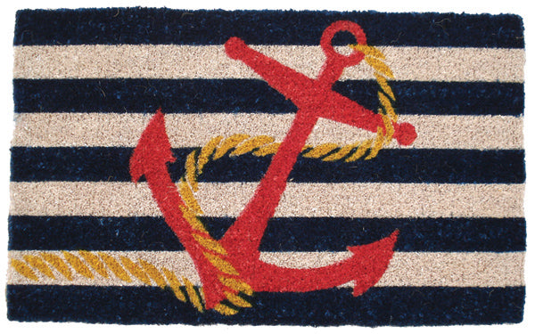 Coir mat with black and whote stripes and an anchor image on top of it.