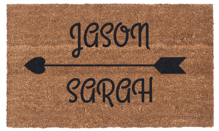 Personalized Cupid's Arrow Handwoven Coco Doormat