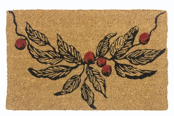 Christmas theme coir doormat with a branch of berries line illustration.