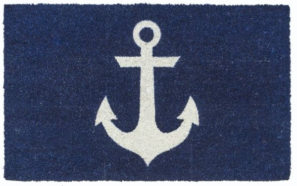 Blue coir doormat with a white anchor print