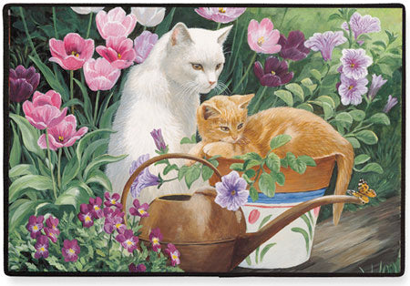 Cats in the Garden Polyester Doormat