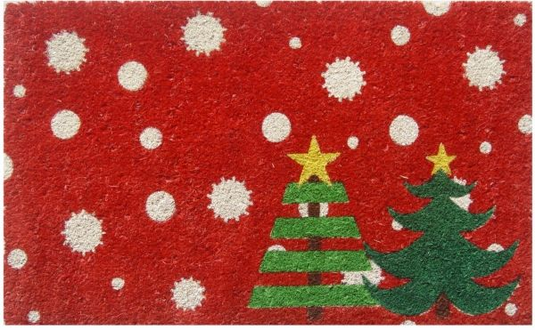 Christmas Trees Vinyl Coir Doormat