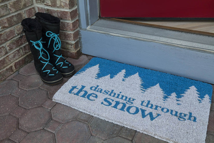Dashing Through the Snow Handwoven Coco Doormat