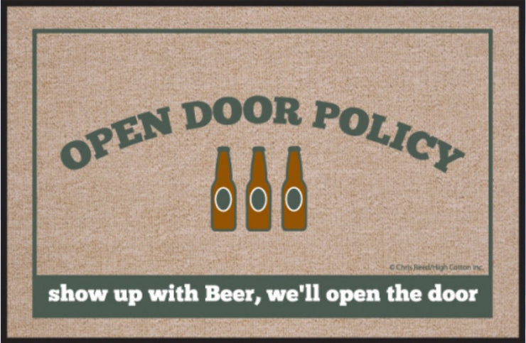 Beer Open Door Policy Olefin Doormat