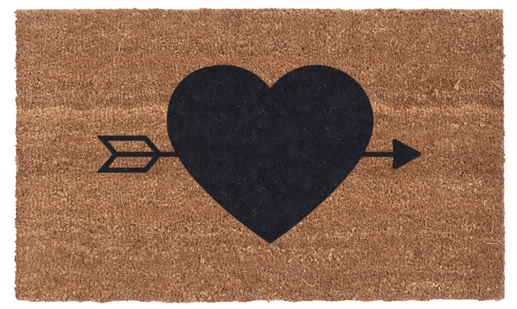 Heart n' Arrow Vinyl Coir Doormat