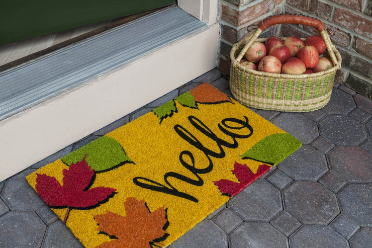 Hello Fall Vinyl Coir Doormat