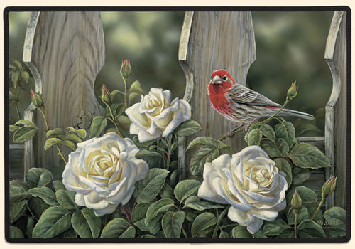House Finch and Roses Polyester Doormat