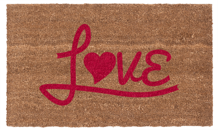 Love Heart Coco Red Vinyl Coir Doormat
