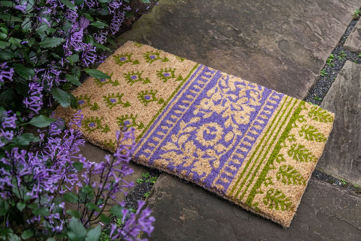 Olive and Lilac Handwoven Coco Doormat